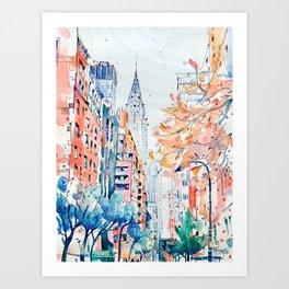 Lexington Avenue, Manhattan, New York, Watercolor painting Art Print