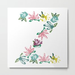 Floral Z Monogram Metal Print