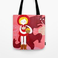 red riding hood Tote Bags featuring Red Riding Hood by genie espinosa