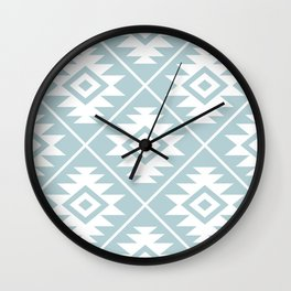 Aztec Symbol Ptn White on Duck Egg Blue Wall Clock