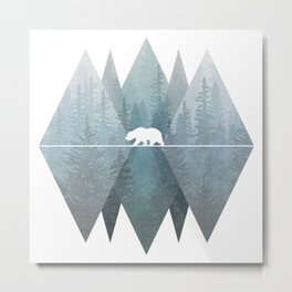 Misty Forest Mountain Bear Metal Print