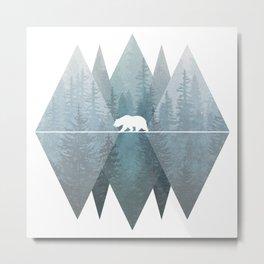 Misty Forest Mountain Bear Metal Print