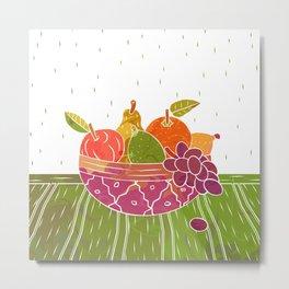 Fruit Bowl Linocut (Colour on White) Metal Print