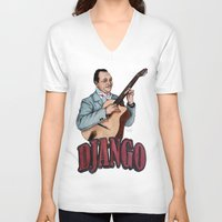 django V-neck T-shirts featuring Django Reinhardt by Daniel Cash