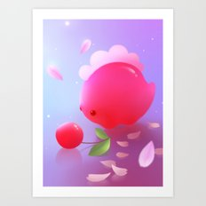 Sakura Dino Art Print