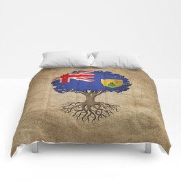 Vintage Tree of Life with Flag of Turks and Caicos Comforters