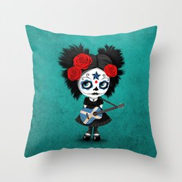 Day of the Dead Girl Playing Scottish Flag Guitar Throw Pillow