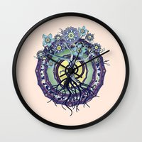buddhism Wall Clocks featuring Tree of Knowledge by DebS Digs Photo Art