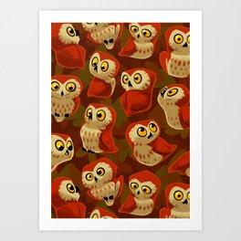 Northern Saw-whet owls pattern. Art Print