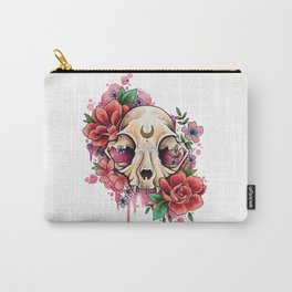 Neo Traditional Cat Skull and Roses Carry-All Pouch