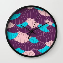Scallop Abstract - Purple, Pink, Blue Wall Clock