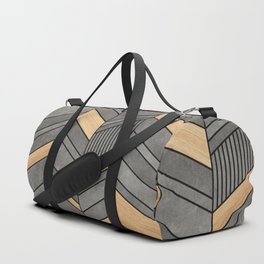 Abstract Chevron Pattern - Concrete and Wood Duffle Bag