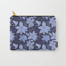 Serene Poinsettia Navy Carry-All Pouch