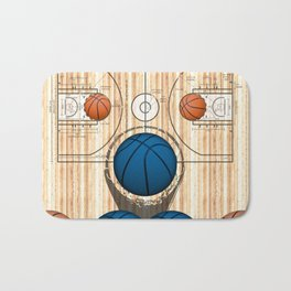 Colorful Blue basketballs on a Basketball Court Bath Mat