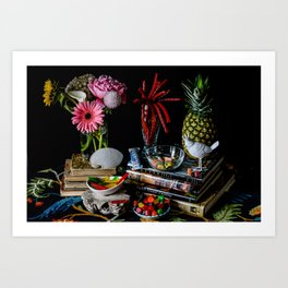 Still Life with Red Liquorice and White Bird Art Print