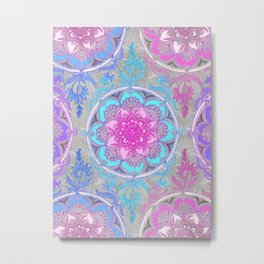 Pink, Purple and Turquoise Super Boho Doodle Medallions Metal Print