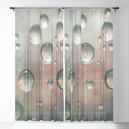 Organic Silver Oil Bubble Abstract Sheer Curtain