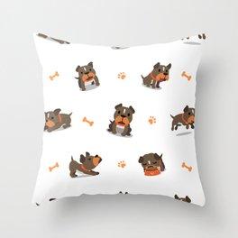 Bull dog cartoon actions pattern Throw Pillow