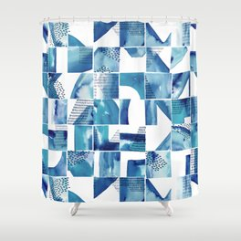Blue Watercolor Typographical Fragments Cheater Quilt Shower Curtain