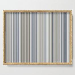 Blue grey Tan Stripes Serving Tray