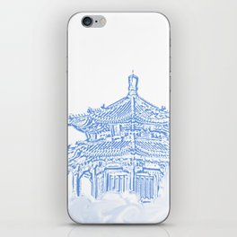 Zen temple in the cloud iPhone Skin