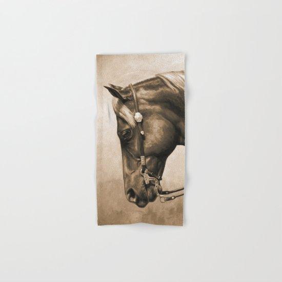Western Quarter Horse Old Photo Effect Hand & Bath Towel