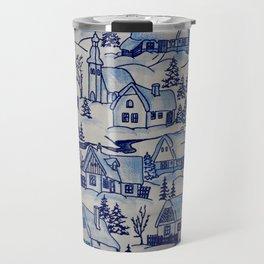Vintage Blue Christmas Holiday Village Travel Mug