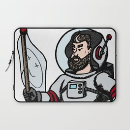 Modern astronaut creative vector illustration. Man with flag in universe. Cosmos space travel on the Laptop Sleeve