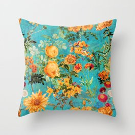 Vintage & Shabby Chic - Blue Botanical Flowers Summer Day  Throw Pillow