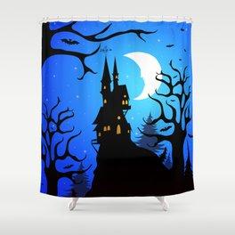 Dark Forest on Halloween Night Shower Curtain