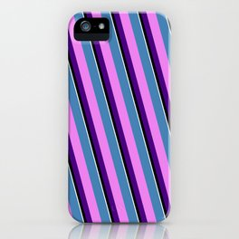 Eyecatching Blue, Violet, Indigo, Black, and White Colored Stripes Pattern iPhone Case