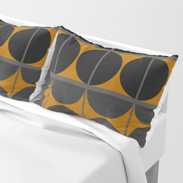 Black and Gray Gradient with Gold Squares and Half Circles Digital Illustration - Artwork Pillow Sham