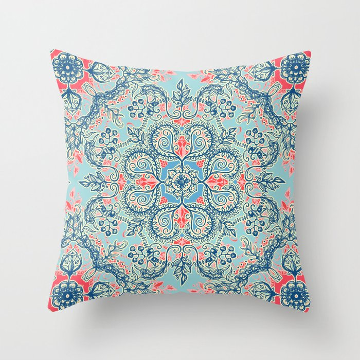 Blue Red Throw Pillow : Gypsy Floral in Red & Blue Throw Pillow by micklyn Society6