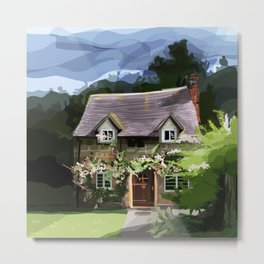 English Cottage Covered in Flowers with Blue Sky, Plants, Trees, Arched Doorway Metal Print