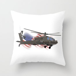 AH-64 Apache Helicopter with American Flag Throw Pillow