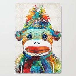 Sock Monkey Art - Your New Best Friend - By Sharon Cummings Cutting Board