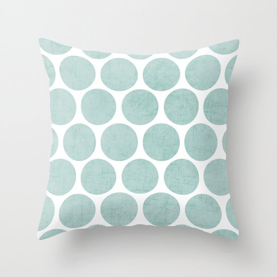 robins egg blue polka dots Throw Pillow