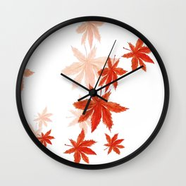Falling red maple leaves watercolor painting Wall Clock