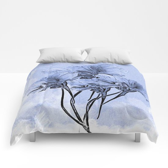 Painterly Blue Floral Comforters
