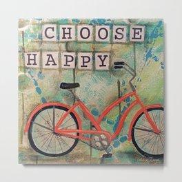 CHOOSE HAPPY, Beach Bike Metal Print