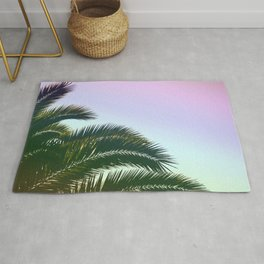 Palm Leaves  - Tropical Sky - Chilling Time Rug