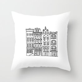 canal houses four Throw Pillow