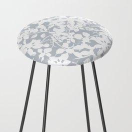 White and Grey Botanical Silhouette Pattern - Broken but Flourishing Counter Stool