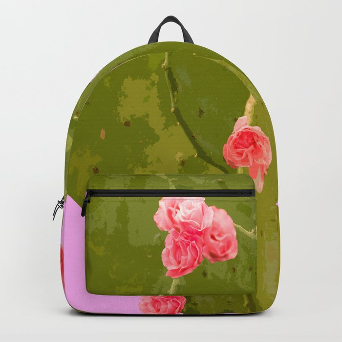 Green cactus with pink flowers on a bright pink background - summer mood Backpack