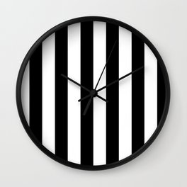 Black & White Vertical Stripes - Mix & Match with Simplicity of Life Wall Clock