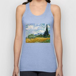 Wheat Field with Cypresses - Vincent van Gogh Unisex Tank Top