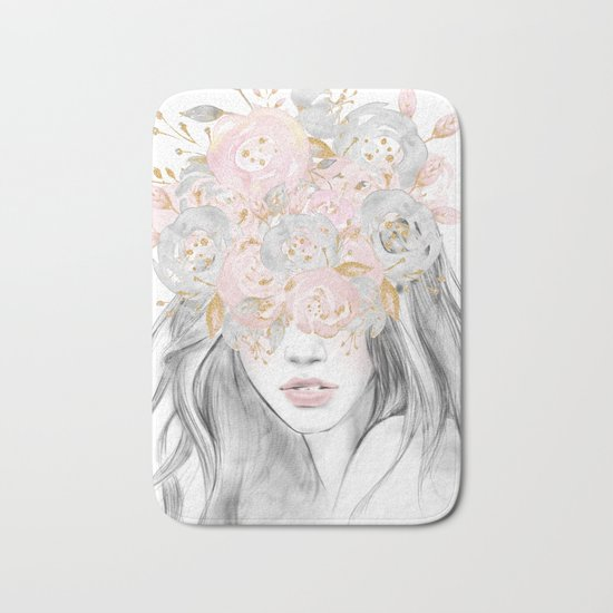 She Wore Flowers in Her Hair Rose Gold by Nature Magick Bath Mat