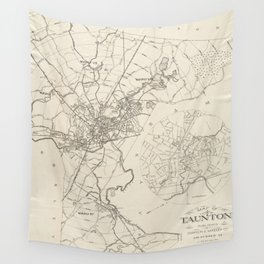 Vintage Map of Taunton MA (1915) Wall Tapestry