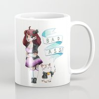 puppycat Mugs featuring Badass Bee and Puppycat by Shelleyboh