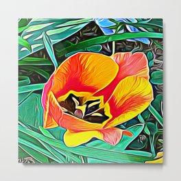 Flower in Expressive Birth Metal Print